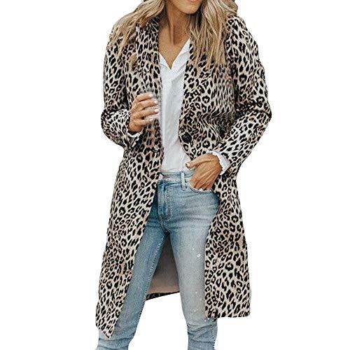 TEELONG Jacke Damen Herbst Winter Lange Ärmel Leopard Print Mode Tasche Langen Mantel wintermantel Winterjacke Strickjacke Outdoorjacke übergangsjacke Windjacke(M, Grau)