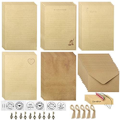 YapitHome 70 Stücke Vintage Schreiben Briefpapier und Umschläge Set Enthält 20 Blatt A5-Kraft, 10 Kraft Umschlägen, 10 Retro Schlüsseln, 10 Hanfseilen, 15 Aufklebern, 5 Gänseblümchenblumen
