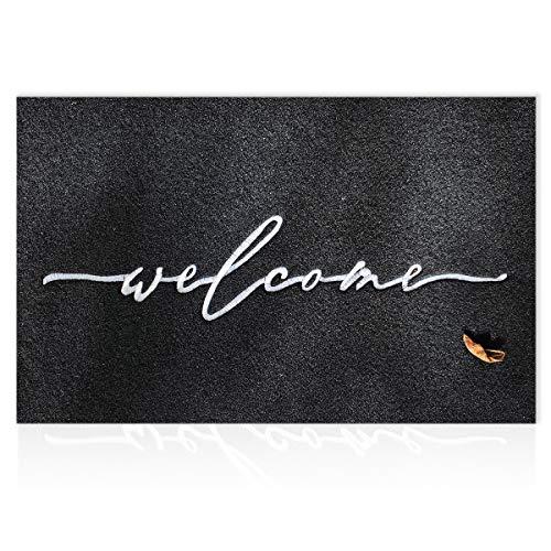 Tapis de bienvenue pour extérieur avec envers en caoutchouc antidérapant durable ultra absorbant et facile à nettoyer pour intérieur et zones avec beaucoup d'allées et venues