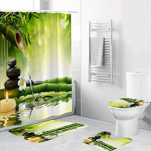 Xmansky Duschvorhang Badezimmermatten-Set 4tlg,Grüne Strandhütten Badematten rutschfeste badematte Bad küche Carpet fußmatten Decor Teppich,Machen Sie Ihr Badezimmer lebendiger