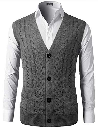 COOFANDY Mens Slim Fit V-Neck Cable Knit Sweater Vest with Front Button Grey