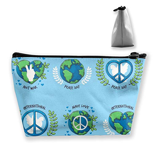 Multi-Functional Print Trapezoidal Storage Bag for Female Hand Drawn Peace Day Badge Collection