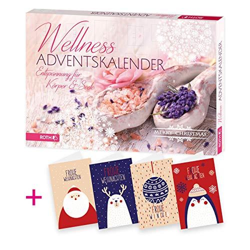 itenga AktionsSet2 1x Roth gefüllter Adventskalender für Frauen Wellness+ 4 Weihnachtskarten Klappkarten