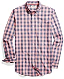 Amazon Brand - Goodthreads Men's Slim-Fit Long-Sleeve Gingham Plaid Poplin Shirt, Pink/Blue, X-Large