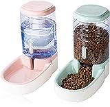 LLDKA Alimentador automático del Animal doméstico, alimentador de alimentación de Viajes y dispensador de Agua para Perros Gatos domésticos Animales (Rosa + Verde)