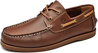 Men's Leather Boat Shoe Casual Handsewn Moccasin Toe Comfort Loafers