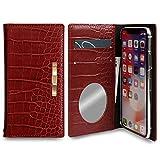 iPhone8 ケース 手帳型 ミラー ゴールド リボン ワニ柄 クロコ マグネットなし カバー (レッド……