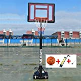 SUON Canasta De Baloncesto Altura Ajustable 120-210cm Niños con Funda Protectora Canasta Aro De Baloncesto Niño Adulto con Bola Y Bomba Movimiento Al Aire Libre (Color : Red)