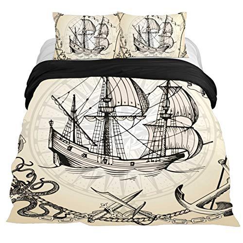 TIKISMILE Old Caravel - Funda de edredón para velero, 3 piezas, microfibra cómoda, con 2 fundas de almohada
