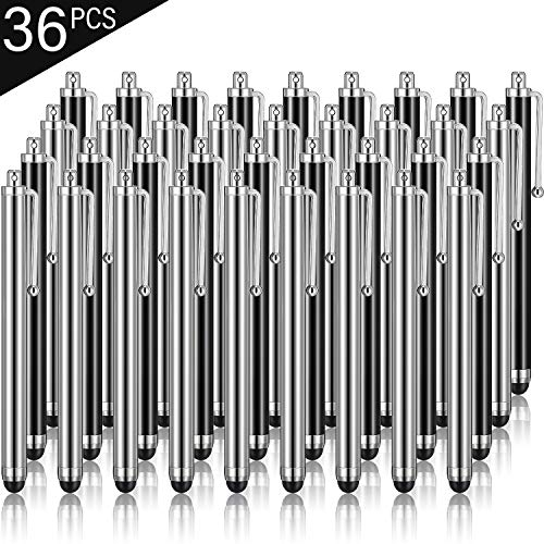 Outus Stylus Pen Set of 36 for Universal Capacitive Touch Screens Devices, Stylus Pens for Touch Screens Devices, Compatible with iPhone, iPad, Tablet (Black, Silver)