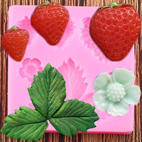ZZYOU 3D Strawberry Silicone Mold Flower Leaf Gummy Mold Diy Wedding Cake Decoration Tool Candy Clay Chocolate Filling Mold