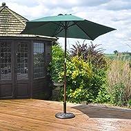 Kingfisher 2.4m Wooden Green Garden Parasol