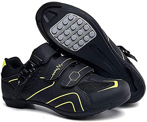 Scarpe da Ciclismo Scarpe da Strada E Mountain Bike in Fibra di Carbonio Antiscivolo E Traspiranti, Sneakers A Strisce Riflettenti (44,Giallo)