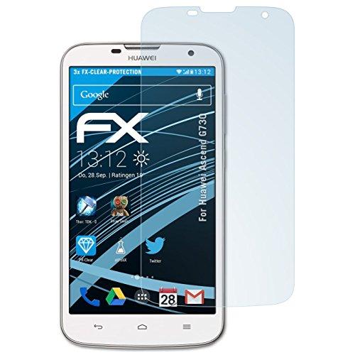 atFoliX Schutzfolie kompatibel mit Huawei Ascend G730 Folie, ultraklare FX Bildschirmschutzfolie (3X)