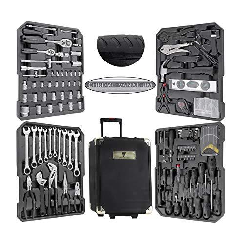 STAHLWERK Werkzeugkoffer WR-1 ST Werkzeugkasten Werkzeugtrolley Werkzeugkiste 186 Teile für Hobby DIY und Hausgebrauch, modularer Aufbau, praktische und übersichtliche Anordnung