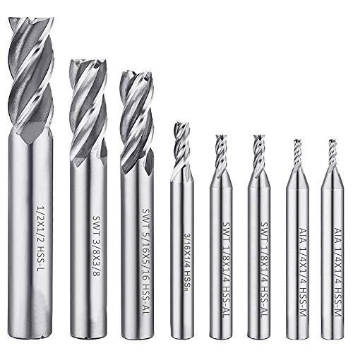 AFUNTA Juego de 8 brocas fresadoras de 4 flautas, (1/2, 1/8, 3/8, 3/16, 5/16 pulgada). HSS CNC, brocas de corte recto, juego de herramientas para madera, acero de aluminio, titanio