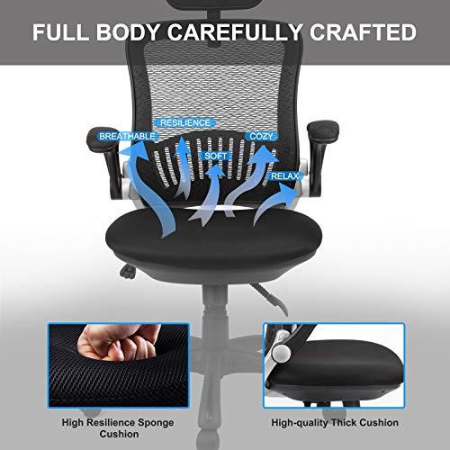 Ergousit Mesh Desk Chair with Adjustable Backrest and Flip up Armrest