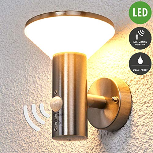 Lampenwelt LED Wandleuchte außen 'Tiga' mit Bewegungsmelder (spritzwassergeschützt) (Modern) in Alu aus Edelstahl (1 flammig, A+, inkl. Leuchtmittel) - Außenlampe, Wandlampe für Outdoor & Garten