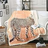 Loussiesd Manta de forro polar con diseño de leopardo, diseño de guepardo, manta de felpa de animales salvajes 3D, para cama, sofá, cama de lujo, color naranja, cálida manta de 150 x 152 cm