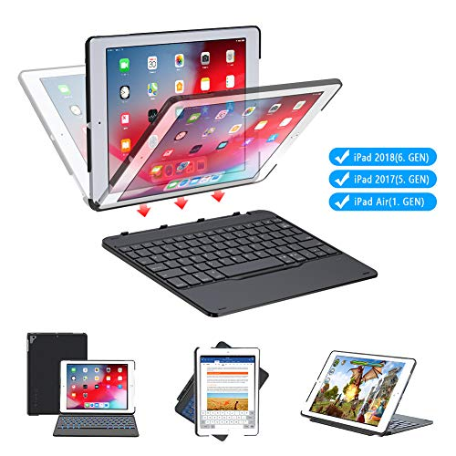 iPad 9.7 Bluetooth Keyboard Case, Yoozon Detachable Auto Sleep/Wake 7 Colors Backlight Wireless Bluetooth Keyboard Compatible with iPad 2018 (6th Gen),iPad 2017 (5th Gen), iPad Air 1