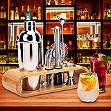 Hochwertiges Cocktailshaker Set, Cocktailmixer Set, 10 Teileig, aus Edelstahl, mit Bambus-Aufbewahrung, inkl. Cocktail-Shaker, Messbecher, Ausgießer, Bar Stößel, Bar Löffel, Eiszange, Öffner, Barmaß - 7