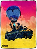 Jay Franco Fortnite Bus Loading Screen Raschel Blanket - Measures 60 x 80 inches, Kids Bedding Features Battle Bus - Fade Resistant Super Soft (Official Fortnite Product)