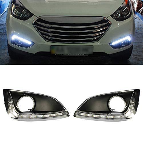 IIWOJ Tagfahrlicht Nebelscheinwerfer Abdeckung DRL LED Super Helligkeit Wasserdicht Kompatibel Mit Hyundai IX35 2010 2011 2012,Pair