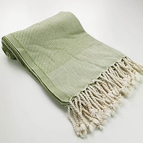 Fouta de playa + bolsa de regalo – De algodón suave – Textura de nido de abeja gofrada – Toalla ligera y grande tamaño XL 100 x 180 cm (verde oliva)