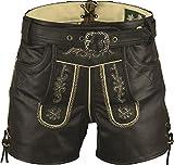Lederhose mit Gürtel, echt Leder Retro Trachten Lederhose Herren kurz, Trachtenlederhose mit Gürtel Herren in Schwarz (50 EU, Antik Schwarz)