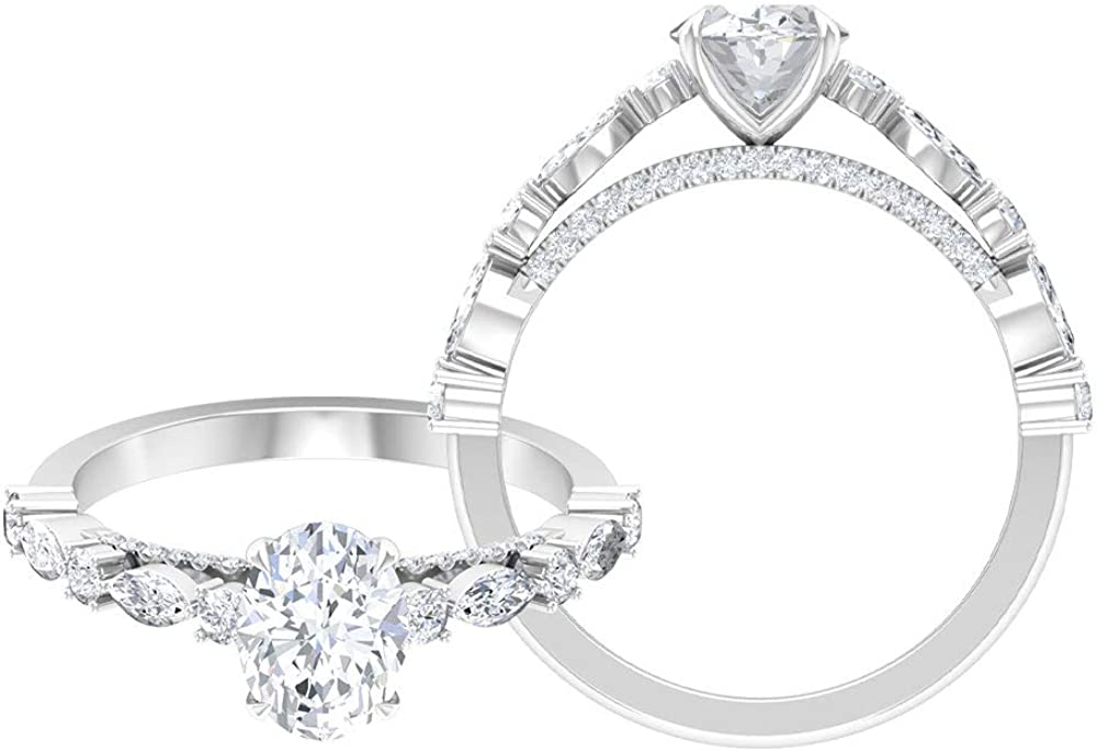 Rosec Jewels Solitaire Engagement Ring with 2 CT D-VSSI Moissanite, Side Stone Ring (AAA Quality),14K White Gold,Moissanite,Size:US 5.50