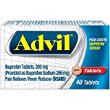 Advil Film Coated Tablets Pain Reliever and Fever Reducer, Ibuprofen 200mg, 40 Count, Fast-Acting Formula for Headache Relief, Toothache Pain Relief and Arthritis Pain Relief