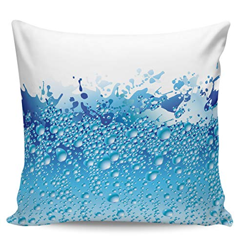 Fundas de almohada de 40,64 x 40,64 cm, diseño de gotas de agua, color azul
