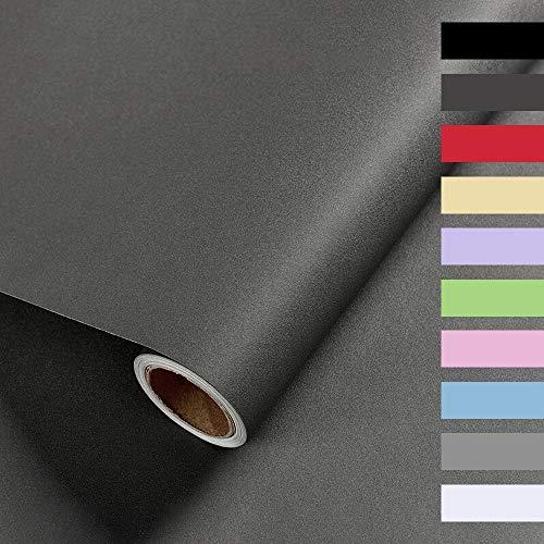 Selbstklebende Folie, Klebefolie Möbel, Wandschutzfolie 40 X 350cm, Tapete Selbstklebend, Wasserdichtes Möbelfolie, Zum Schutz Oder zur Renovierung von Möbeln, Wänden und Tischplatten(Dunkelgrau)