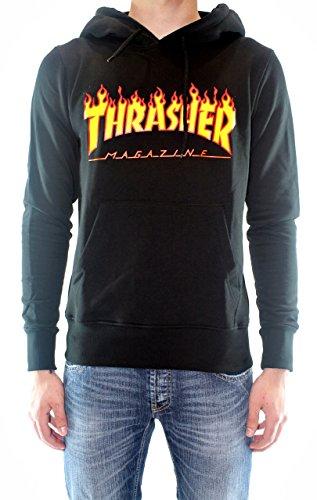 Sudadera negra con capucha Thrasher Flame negro S