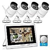 YESKAMO Kit Cámaras de Vigilancia Wifi Exterior 4 Cámaras Wifi 1080p 8 Canales y Pantalla de 12', Sistema de Cámara de Seguridad Inalámbrico 2.0 Megapíxeles para Exterior con Disco duro de 2TB