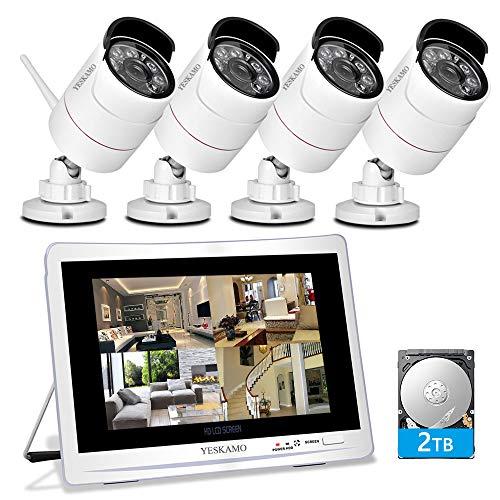 YESKAMO kit de Vigilancia con 4 Cámaras Wifi 1080p 8 Canales y Pantalla de 12', Sistema de Cámara de Seguridad Inalámbrico 2.0 Megapíxeles de Alta Calidad para Exterior con Disco duro de 2TB