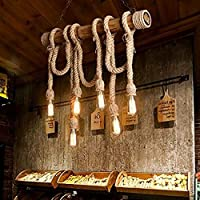 Lámpara de araña de cuerda de bambú vintage 6 cabezas Lámpara de techo de cáñamo grueso vintage Lámpara de techo industrial E27 Cable de lámpara de base