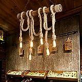 Lampadario vintage in corda di bambù a 6 teste Corda in canapa spessa vintage Lampada a sospensione industriale a sospensione E27 Cavo di base