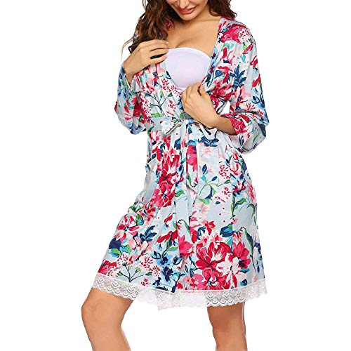 LLSS Camisón de Lactancia para Mujer, camisón de Maternidad de enfermería con Cuello Redondo, Estampado de Moda, Manga Larga, Pijama, Vestido, Ropa de Dormir, Ropa de dor