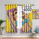 Cortina de ventana retro Pop Art para tomar el sol mujer con vida es tan buena cita en la playa Motivational Comic Image Bring beauty Multicolor W72 x L72 pulgadas
