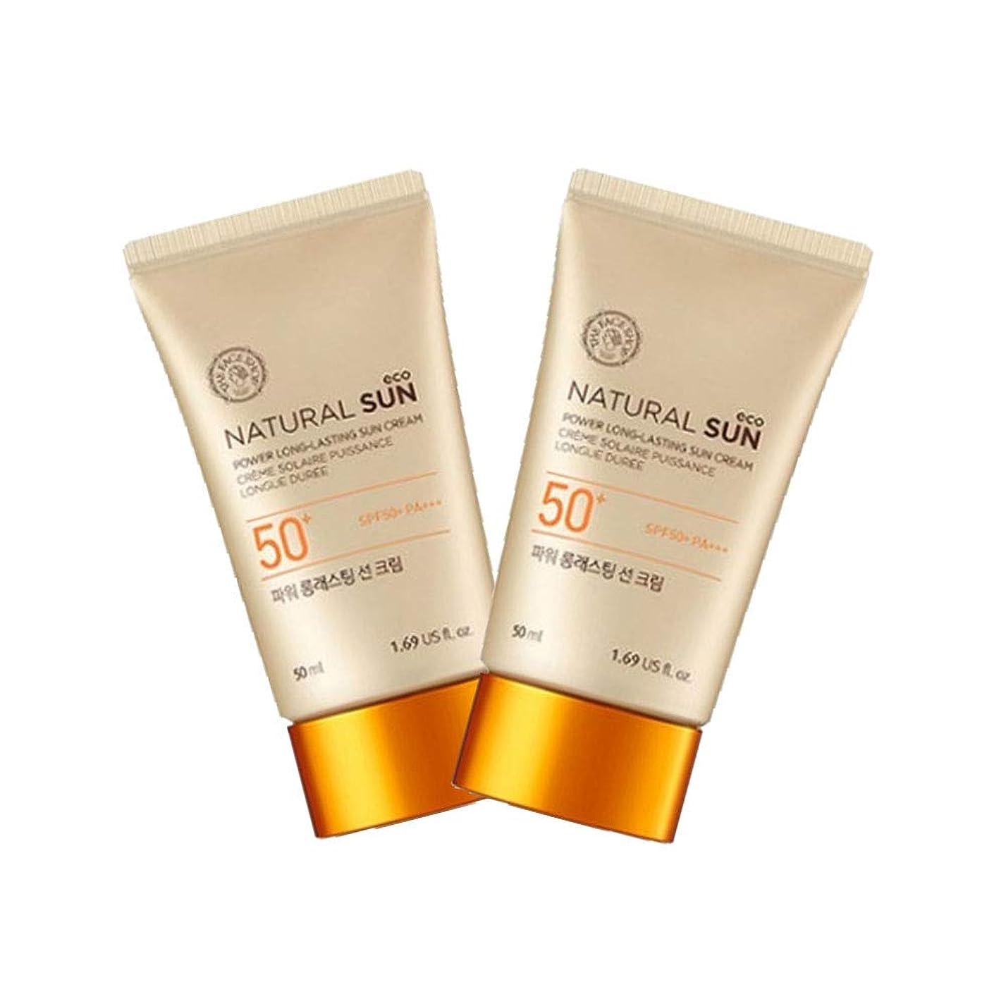 主権者最少バリアザ?フェイスショップナチュラルサンエコパワーロングラスティングサンクリーム50mlx2本セット韓国コスメ、The Face Shop Natural Sun Eco Power Long Lasting Sun Cream 50ml x 2ea Set Korean Cosmetics [並行輸入品]