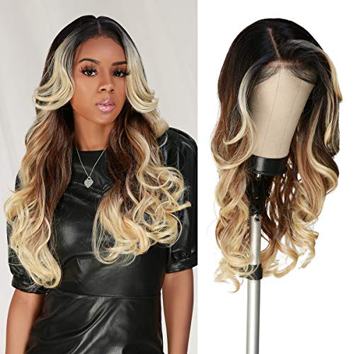The Stylist HD LACE Front Wig Loose Wave 13X6 Deep Transparent Lace Frontal Wigs 27 Inch Human Hair Master Blend Swiss Lace Curly Long Wig - Bella (BROWN HD LACE, MOP1B/BLONDE)