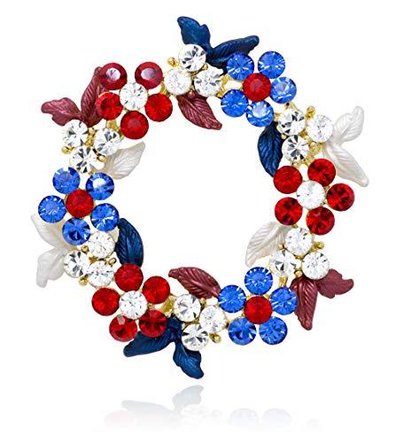Akianna Necklaces Halskette Swarovski Element Kristalle Kranz Brosche Patriotische rot weiß blau