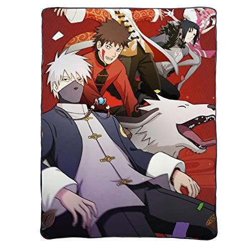 Jiaxiin Naruto - Uzumaki, Sakura, Sasuke, Kakashi, Inuzuka Kiba Anime Manta de Dibujos Animados Regalo de Felpa Suave edredón (C, 150×200cm)