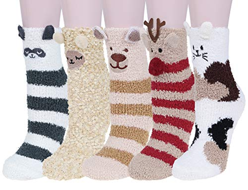 Loritta 5 Pairs Womens Fuzzy Christmas Socks Winter Cozy Soft Fluffy Cute Animal Warm Slipper Socks Gifts, 5 Pairs Animal C