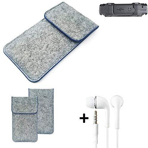 K-S-Trade Filz Schutz Hülle Für Simvalley Mobile SPT-210 Schutzhülle Filztasche Pouch Tasche Handyhülle Filzhülle Hellgrau, Blauer Rand + Kopfhörer