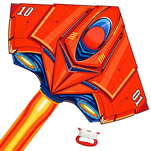 Tcvents Large Plane Kite Delta Kites for Kids Adults Fighter Kite Easy to Fly Beach Park Outdoor Games Activities, Huge Airplane Kite with Handle and 328FT String, Easy Assemble (Fighter Plane Kite)