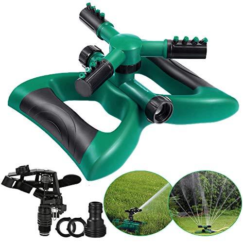GEYUEYA Home Arroseur de Jardin à 3 Bras Rotatif automatiquement, à 360 degrés, avec 2 différents Modes de Buses pour pelouse, Jardins, Fleurs, arrosage