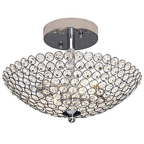 LJWJ Lámparas Lámparas Lámparas de Techo, Redondas Mini Pequeñas Cuentas de Cristal Transparente en Forma de Cuenco Base de Metal Cromado Techo de Cristal, Techo Empotrado Candelabros de Cristal