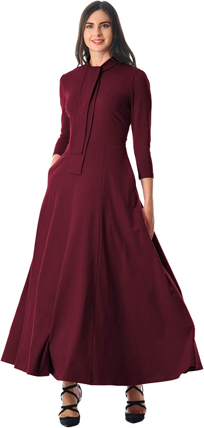 SilkRoadOriginal Women Pocketed 3 4 Sleeves Tie Neck Maxi Dress